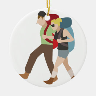 Backpackers Round Ceramic Decoration