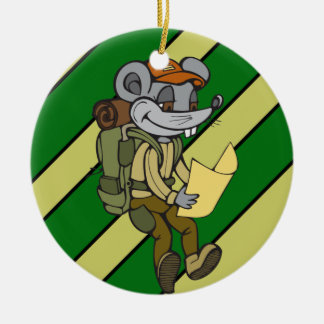 Backpacking Mouse Round Ceramic Decoration