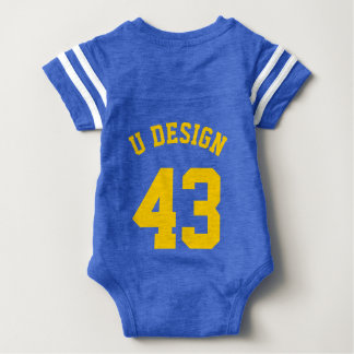 Backside Royal Blue & Yellow Baby | Sports Jersey Baby Bodysuit