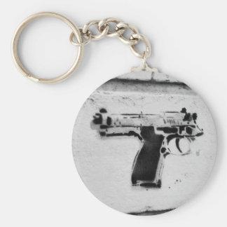 backwards gun stencil graffiti art key-chain keychains