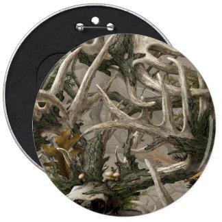 Backwoods deer skull camo pinback button