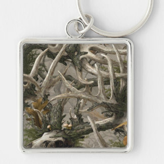 Backwoods deer skull camo Silver-Colored square key ring