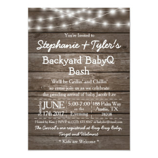 Backyard BabyQ Bash Lights Wood Rustic Baby Shower Card