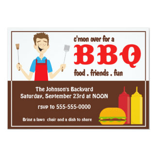 Backyard BBQ with Cook 13 Cm X 18 Cm Invitation Card