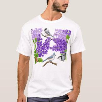 Backyard Garden Birds in Lilacs Shirt