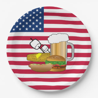 Backyard Gathering Memorial Day Party Paper Plates
