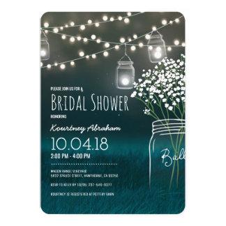 Backyard Mason Jar Baby Breath Bridal Shower 13 Cm X 18 Cm Invitation Card