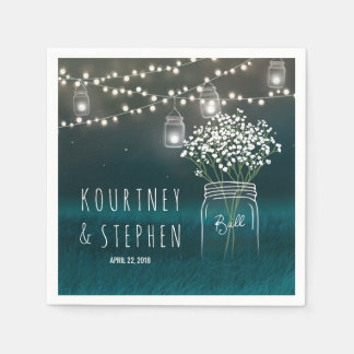Backyard Mason Jar Baby Breath Wedding | Lights Disposable Napkin
