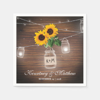 Backyard Rustic Mason Jar Sunflower Lights Wedding Disposable Serviette