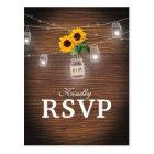 Backyard Rustic Mason Jar Sunflower Wedding RSVP Postcard