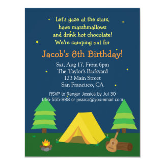 Backyard Sleepover Camping Birthday Party For Boys Card