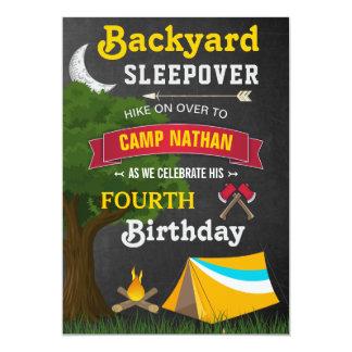 Backyard Sleepover Camping Birthday Party Invite