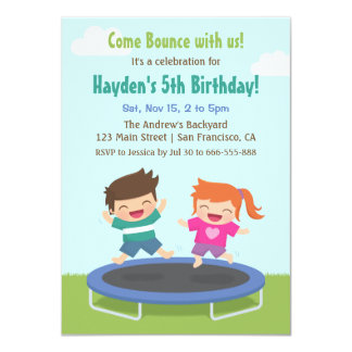 Backyard Trampoline Kids Birthday Party Card