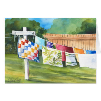 Backyard Washline Note Card