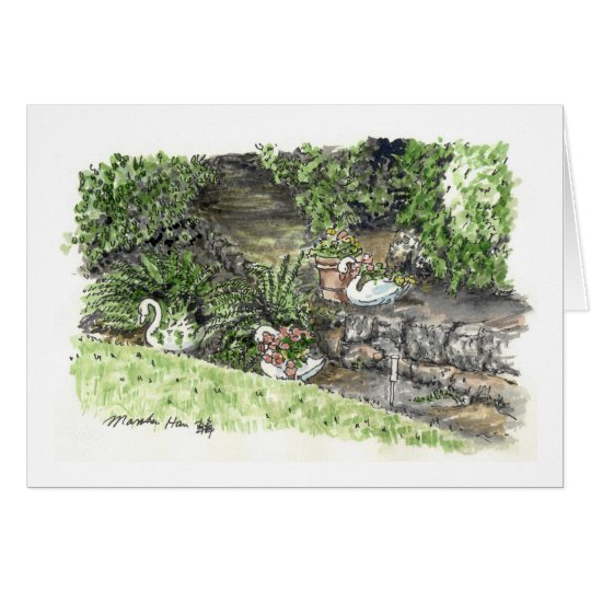 backyard with goose plantes card