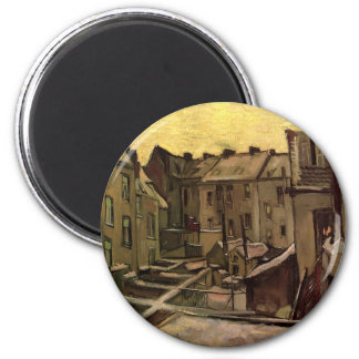 Backyards of Old Houses by Vincent van Gogh 6 Cm Round Magnet
