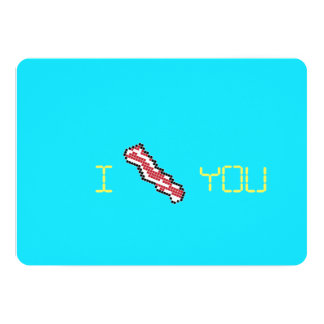Bacon 8-Bit Retro Pixel I Heart You Card