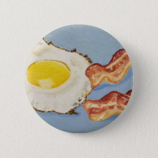 Bacon and Egg Breakfast painting 6 Cm Round Badge