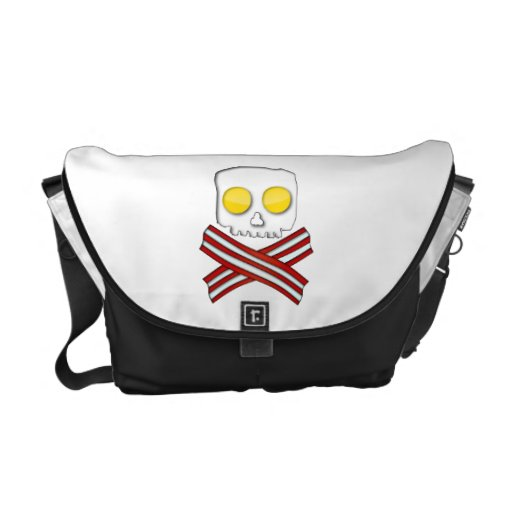 Bacon and eggs skull and crossbones courier bag