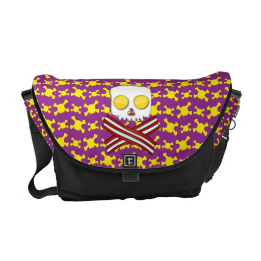 Bacon and eggs skull and crossbones commuter bag