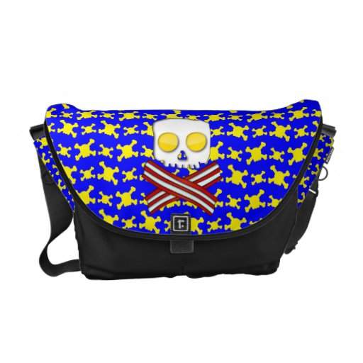 Bacon and eggs skull and crossbones courier bags
