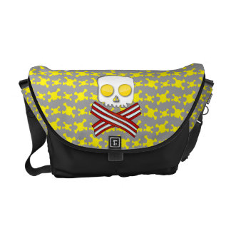 Bacon and eggs skull and crossbones messenger bags