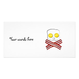 Bacon and eggs skull and crossbones personalised photo card
