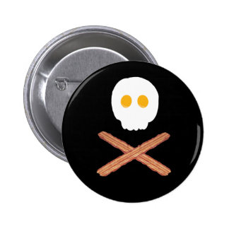 Bacon and eggs skull and crossbones pin