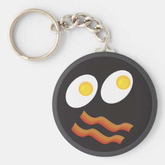 bacon and eggs smiley face basic round button key ring