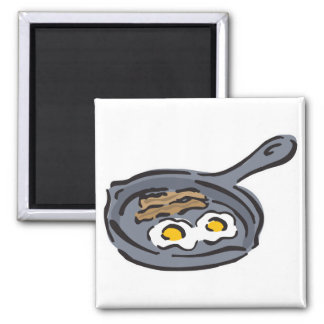 bacon and fried eggs square magnet