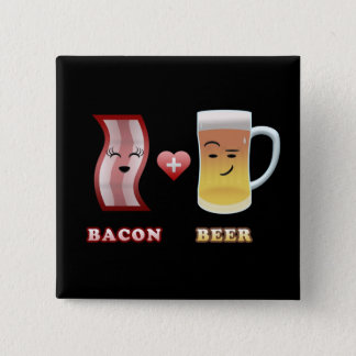 Bacon + Beer In Love (black bkgd) 15 Cm Square Badge