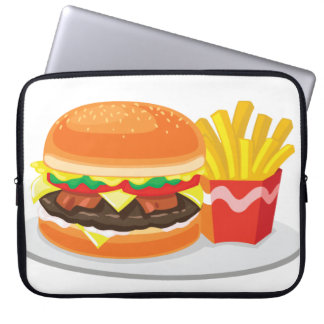 "bacon cheeseburger with fries 15"" laptop sleeve"