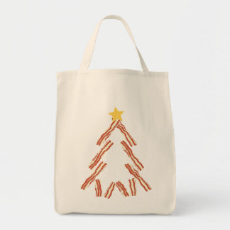 Bacon Christmas Tree Grocery Tote Bag