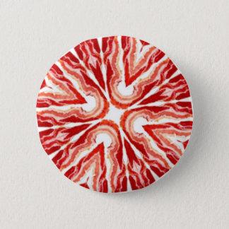 bacon cross 6 cm round badge
