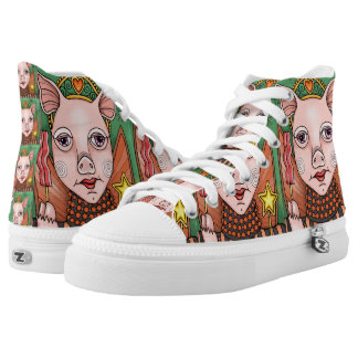 Bacon Fairy Princess Line Art Design High Tops
