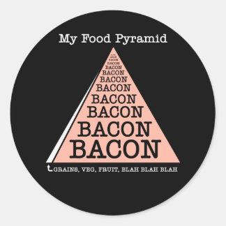 Bacon Food Pyramid Round Sticker