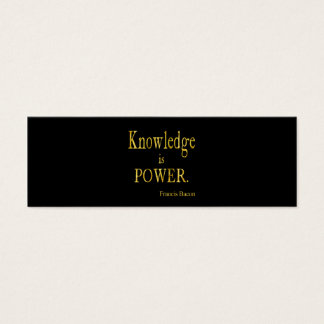 Bacon Knowledge is Power Quote Gold Faux Glitter Mini Business Card