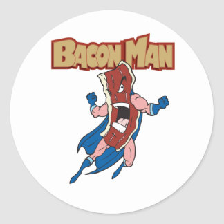 Bacon Man Round Stickers