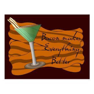 Bacon Martini Recipe Card Postcard