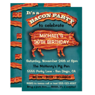 Bacon Pork Pig Party Invitation