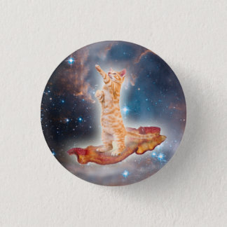 Bacon Surfing Cat in the Universe 3 Cm Round Badge