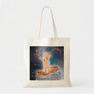 Bacon Surfing Cat in the Universe Budget Tote Bag