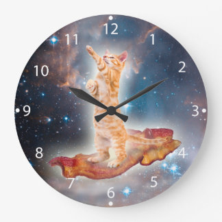 Bacon Surfing Cat in the Universe Large Clock