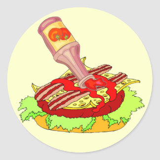 Bacon swiss cheeseburger with ketchup classic round sticker