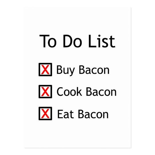 Bacon To Do List Postcard