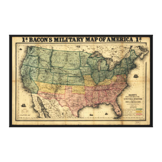 Bacon's Military Map of the United States (1862) Canvas Print