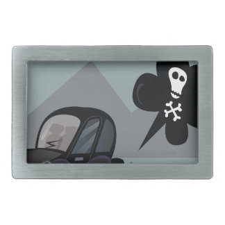 BAD BLACK CAR SIMPLE KIDS ART ILLUSTRATION BELT BUCKLE