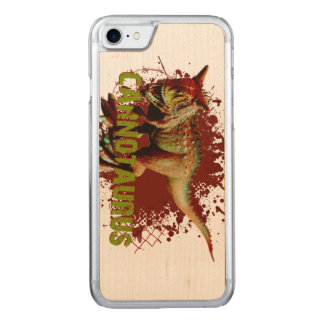 Bad Carnotaurus Splashing Blood Green and Red Carved iPhone 7 Case
