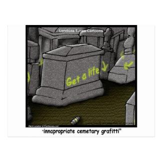 Bad Cemetary Grafitti Funny Postcard