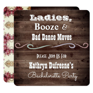 """""""Bad Dance Moves"""" Rustic Bachelorette Invitation"""